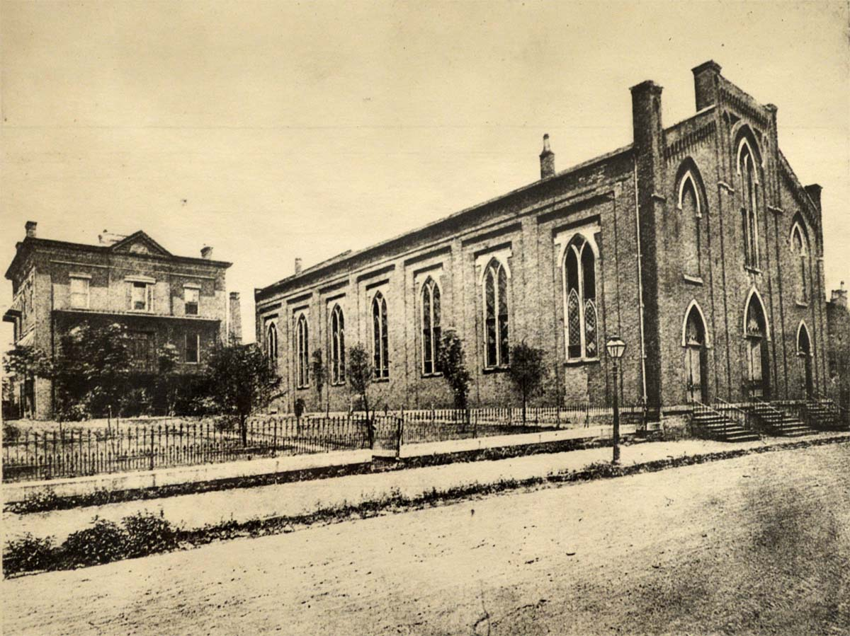 Old St. Mary Cathedral on Eighth Street in 1888, shortly after Maes became Bishop of Covington. The roof leaked constantly and the brickwork was falling apart. Archives of the Diocese of Covington.