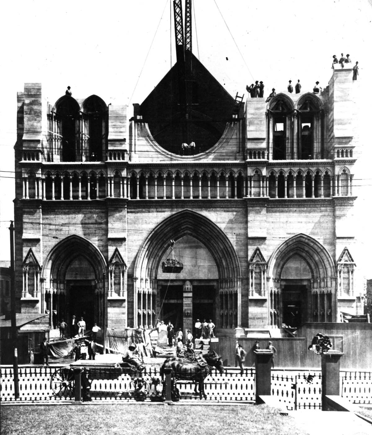 : Construction of the façade half completed. in this photo dated September 7, 1909. Archives of the Diocese of Covington.
