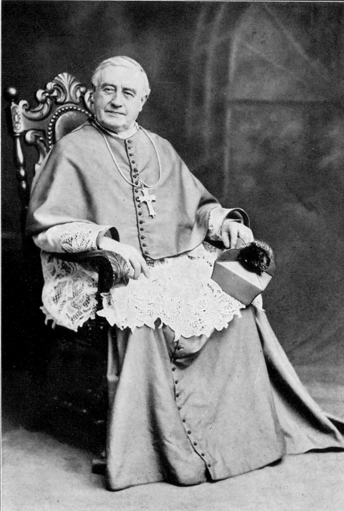 Bishop Camillus Maes photographed in 1910 on the occasion of his Silver Episcopal Jubilee, celebrating 25 years as Bishop of Covington. Archives of the Diocese of Covington.